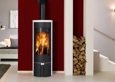 Poêle à bois Fonte Flamme Aura céramique blanche